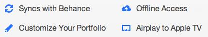 Features der Creative Portfolio App