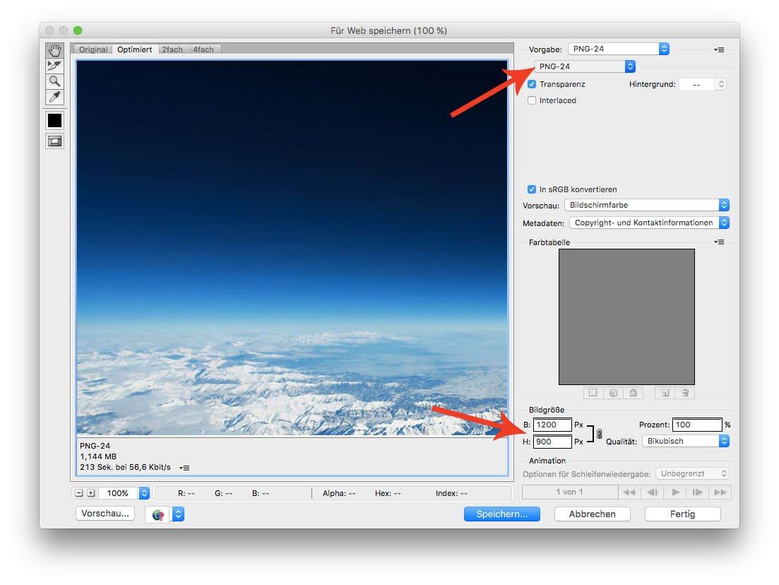 Photoshop für Web speichern als PNG