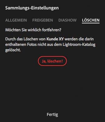 Lightroom Web Einstellungen Löschen
