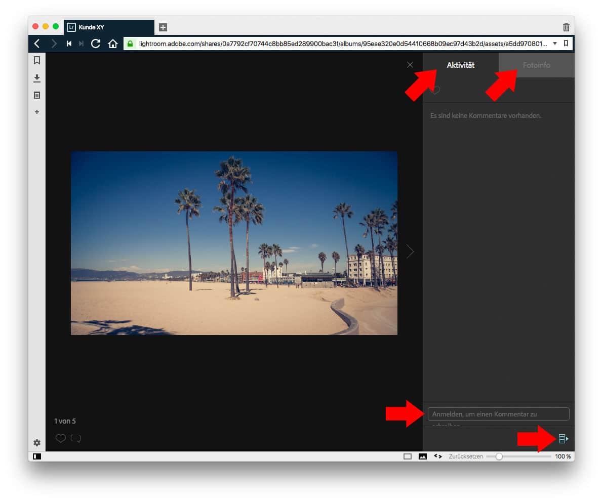 Lightroom Web Kommentieren und Infos