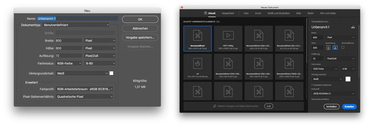 Photoshop CC 2017 neues Dokument Dialogfeld im Vergleich