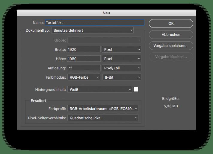 Watch Dogs 2 Text Effekt in Photoshop neue Datei