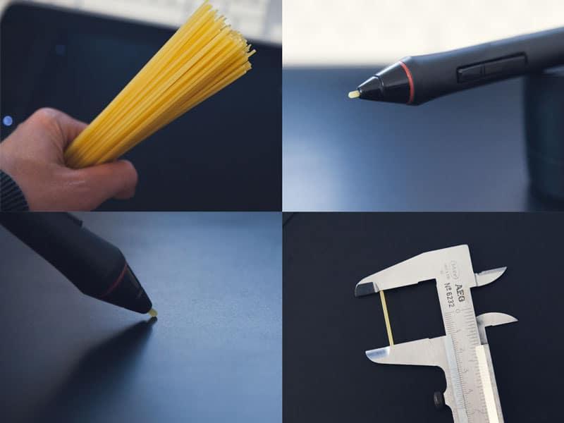 Spaghetti als Mine für Grafiktablett Stift