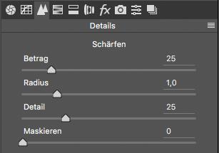 Schärfen in Photoshop ACR Details