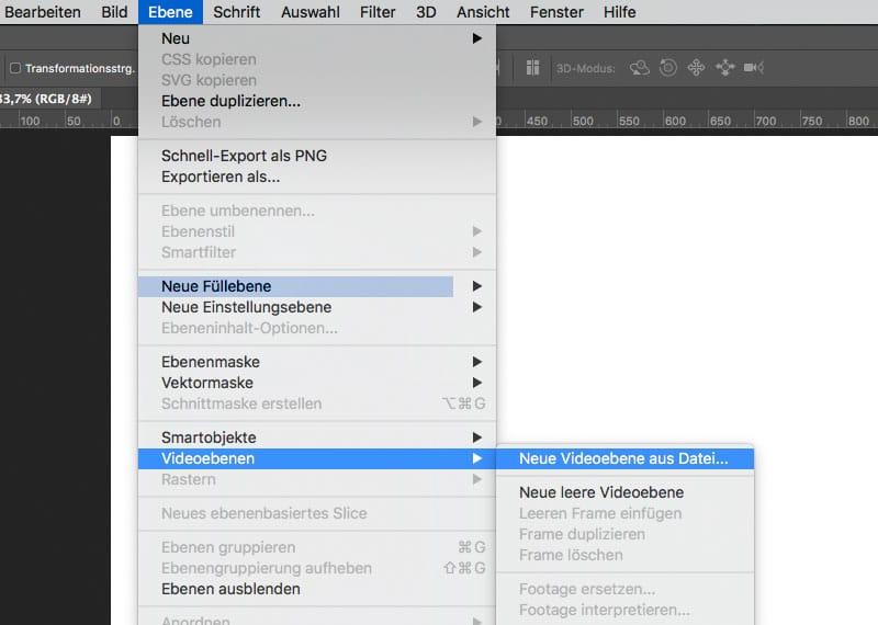 Timelapse (Zeitraffer) Video in Photoshop erstellen Videoebene