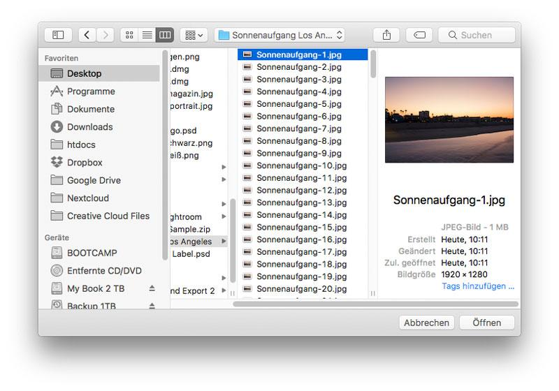 Timelapse (Zeitraffer) Video in Photoshop erstellen Fotos auswählen