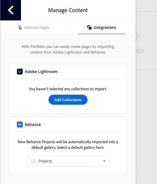 Adobe Portfolio Lightroom Integration Screenshot