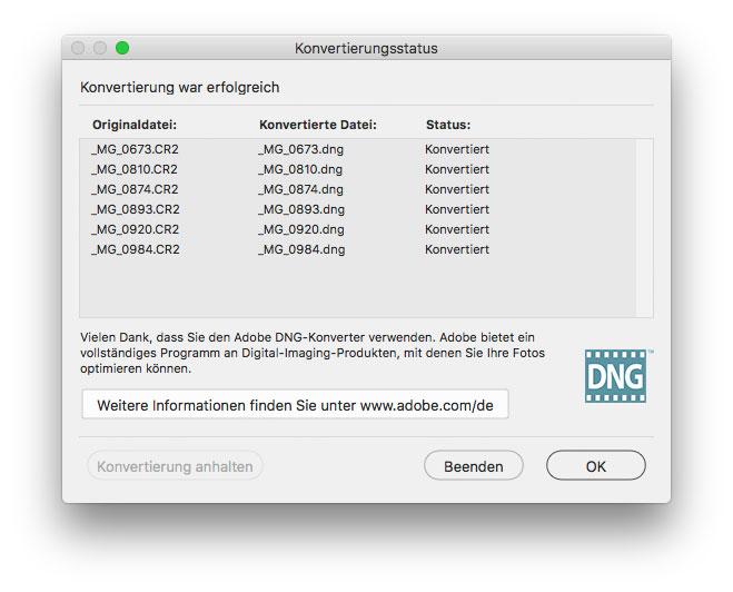 DNG Converter Konvertierungsstatus