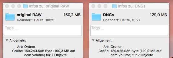 DNG Converter Vergleich von originale RAWs zu DNGs