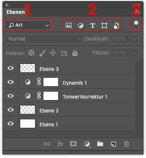 Photoshop Ebenenfenster Ebenenfilter