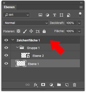Photoshop Ebenenfenster Zeichenfläche